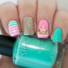 Tiffany Blue and Pink Nautical Nails With Anchor ⚓