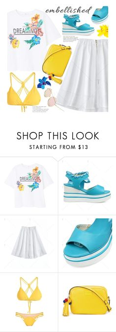 """Chic Island Getaway: Embellished Shoes (vacation)"" by beebeely-look ❤ liked on Polyvore featuring MANGO, Dolce&Gabbana, sandals, vacation, embellishedshoes, islandgetaway and twinkledeals"