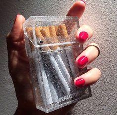 home accessory capsule cigarette case glitter transparent clear