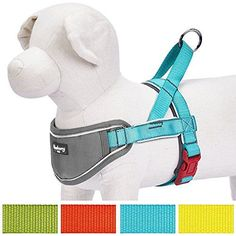 """Blueberry Pet Harnesses 1"""" 3M Reflective Strips Nylon Solid Color Neoprene Padded Anti/No-pull Adjustable Dog Training Harness in Lake Blue, 24.5-29.5"""" Chest ** Click image to review more details."""