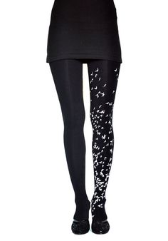 Hand-printed tights - 'Les Oiseaux' black & white