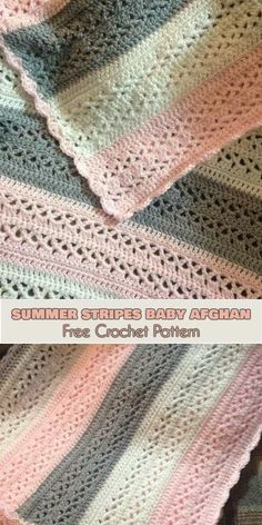 Summer Stripes Baby Afghan [Free Crochet Pattern]. Easy and soft blanket for baby girl, baby boy or newborn. ONLY FREE crocheting patterns for Amigurumi, Toys, Afghans, Baby Blankets, New Stitches and Tutorials and many more!