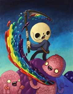 'Happiness is Killed by Removing the Head or Destroying the Brain' by @theultrachung. Find out more about The Chung!! and see more of his fabulous art in his interview at wowxwow.com. (painting, humor, humour, characters, narrative, story, human condition, emotion, optimism)