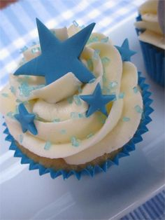 48 Ideas Baby Boy Shower Cakes And Cupcakes Blue Baby Cupcake, Baby Boy Cupcakes, Baby Boy Birthday Cake, 1st Birthday Cupcakes, Star Cupcakes, Cupcakes For Boys, Blue Cupcakes, Baby Shower Cakes For Boys, Baby Shower Cupcakes