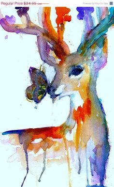 Pin by lindsey on art arte pintura, acuarela, pinturas. Painting Prints, Painting & Drawing, Art Diy, Animal Paintings, Painting Inspiration, Watercolor Paintings, Watercolor Deer, Tattoo Watercolor, Amazing Art
