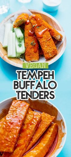 Recipes Snacks Baking This Buffalo Tempeh Tenders recipe is baked to crispy perfection and slathered in buffalo sauce to make the most addictive healthy vegetarian comfort food! A great healthy appetizer or snack idea for game night. Vegetarian Recipes Dinner, Healthy Appetizers, Vegan Dinners, Veggie Recipes, Healthy Recipes, Tempeh Recipes Vegan, Appetiser Recipes, Healthy Snacks, Vegetarian Comfort Food