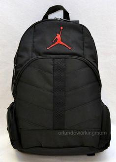 Nike Air Jordan Backpack Black Red school book bag men women boys girls kids #Nike #Backpack #Jordan #Jumpman #Basketball #OrlandoTrend