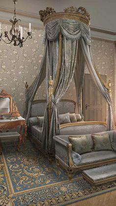 Desire and decorum-bed Royal Bedroom, Bedroom Sets, Dream Bedroom, Bedroom Decor, Interior Decorating, Interior Design, Home And Deco, Luxurious Bedrooms, Beautiful Bedrooms