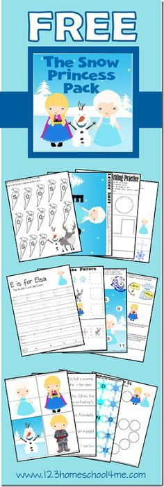 FREE Frozen themed worksheets for kids! These super cute Olaf, Anna and Elsa themed learning pages will help toddler, preschool, prek, kindergarten, first grade kids practice writing the letter e, counting, addition, graphing, what comes next, addition, a