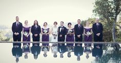 Bridal Party Reflection. Bridesmaids in eggplant dresses. Photo Credit Tina Norton Photography Event Planning & Design Magnolia Event Design Florals NLC Production