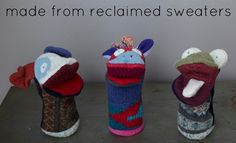 Wool puppets are made from reclaimed sweaters - no 2 are exactly alike!