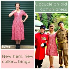 Upcycle a frumpy frock into a 1940s tea dress