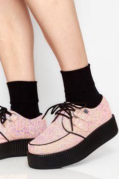 fa3afb86cf67 Goodbye Bread · Shoes · Peachy Pink Glitter Viva Mondo Creepers  tuk   tukshoes  creepers  glitter  peachy