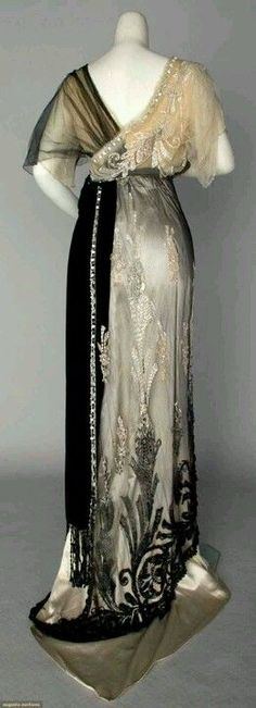 1911 Evening Gown Satin and Chiffon Late Antique