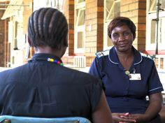 Matron Rosemary Nekatambe of Hwange Colliery Hospital being interviewed by IAT Presenter, Lesedi Mogoathle