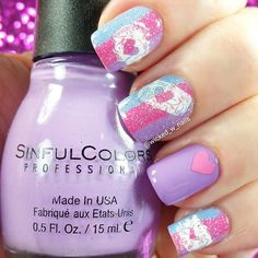 I used my @myblisskiss SIMPLY NEAT MIRACLE MAT to create these little scribble heart decals. The pink heart sticker on the ring finger is from one of my hearts vinyl sheets from @twinkled_t . The pink blue and lavender polishes used in this look are all from @sinfulcolors_official . . Easy clean up around my nails was possible using @nailcandiofficial Liquid latex. . tutorial will be up tomorrow. .