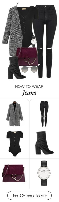 """""""Sin título #2109"""" by camila-echi on Polyvore featuring Topshop, Michael Kors, Chloé, Dries Van Noten, Daniel Wellington and Ray-Ban"""