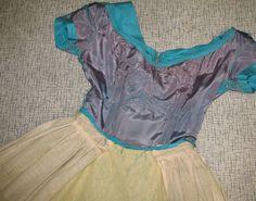 dress front--acetate lining, boning at darts, interfaced skirt, cotton peplum