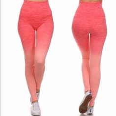 Ombré Yoga Pants! Coral Ombre Banded Fold Over Active Wear Legging!  Super Comfy/Quality Fabric! Pants Leggings