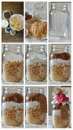 Recipe in a jar DiY Tutorial salame di cioccolato in barattolo Christmas Jar Gifts, Christmas Cookies, Christmas Time, Mason Jar Meals, Meals In A Jar, Food Packaging Design, Edible Gifts, Something Sweet, Homemade Gifts
