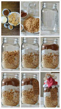 Recipe in a jar DiY Tutorial salame di cioccolato in barattolo http://giuliacookeatlove.blogspot.it/2013/12/ricette-in-barattolo-il-salame-di.html