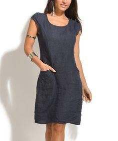 Love this Navy Blue Flavy Linen Dress on #zulily! #zulilyfinds