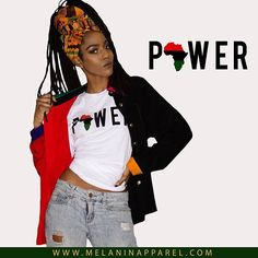 """Black pride t-shirt """"Power"""" available now. Please visit www.melaninapparel.com. Home of black Pride t-shirts and apparel. #afroeccentricclothing"""