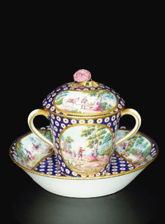 A SÈVRES SOFT-PASTE PORCELAIN CUP, COVER AND SAUCER, DATED 1765