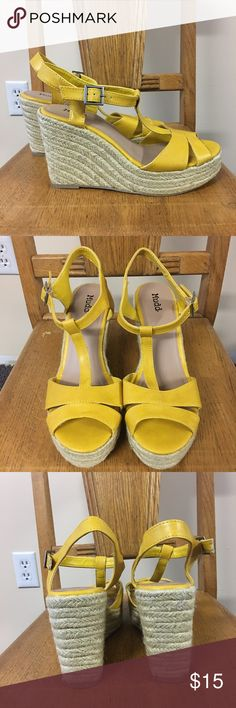 Yellow Espadrilles Wedge Shoes New Mudd Size 9 Brand new bold yellow colored shoes from Mudd. These are pretty espadrilles style wedge shoes. Tried on only in store, purchased and never worn. No box available. Please ask if you have any questions, need measurements or more pictures. No trades. Mudd Shoes Espadrilles