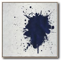 Hand-painted Navy blue and White Abstract Painting on canvas, minimalist art #NV12A by CZ Art Design @CelineZiangArt