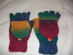 Rainbow Glittens! - KNITTING (fingerless gloves/mittens)