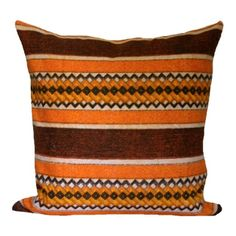 Cushion Cover Vintage 1960's - 70's Orange Brown Abstract Stripe, Organic Fabric £25.00