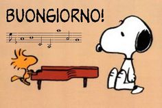 Woodstock playing a recital for Snoopy.