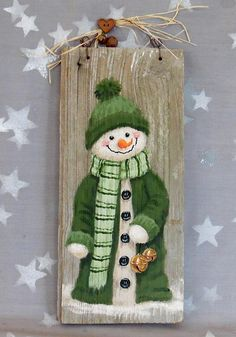 Bernie and her snowman bells ozarks illustrations on weathered wood 5 3 8 x 11 3 4 - Wood Design Christmas Wood Crafts, Snowman Crafts, Christmas Signs, Christmas Snowman, Christmas Projects, Holiday Crafts, Christmas Ornaments, Wooden Christmas Decorations, Christmas Paintings
