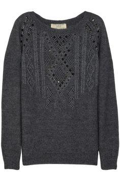Vanessa Bruno Athé|Studded cable-knit sweater|NET-A-PORTER.COM