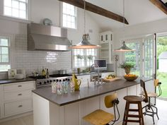Bright white open kitchen