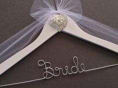 Raised Heart  Jeweled Bridal Hanger, Personalized Wedding Dress Hanger,  Bridal Shower,