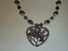 Genuine Amethyst Necklace with Wire-wrapped by MoonwatersHaven Amethyst Necklace, Pendant Necklace, Wire Wrapped Pendant, Wire Wrapping, Jewelry, Jewlery, Bijoux, Jewerly, Jewelery