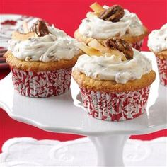 Coconut Pecan Cupcakes Recipe -Pecan lovers have lots to cheer about with these flavorful cupcakes. I created the recipe for my best friend, Ann, who said she loved Italian cream cake but didn't want a whole cake. They have a wonderful aroma and fabulous flavor. —Tina Harrison, Prairieville, Louisiana