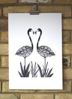 Flamingo print  Hand printed black and white screen print, Two flamingos limited edition print