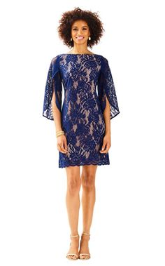 The Bellmont Dress is a lace boatneck dress with 3/4 length sleeves that have a butterfly fly-away detail. Paired with gold accessories this dress is a great special occasion dress.