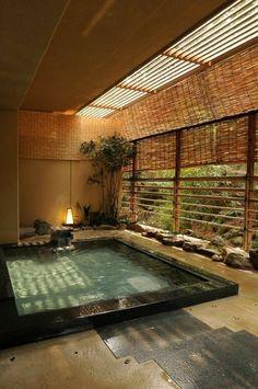 Japanese Bath House, Japanese Style House, Japanese Bathroom, Japanese Sauna, Japanese Living Rooms, Japanese Soaking Tubs, Traditional Japanese House, Japanese Interior Design, Home Interior Design