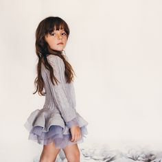 Miss Aubrey is a sweet grey knit and can be worn as a dress or a top. Have your doll wear this piece as a dress and then grow into it as top the very next year. #sweaterdress #dress modernechild.com