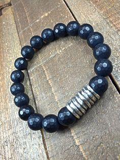 Men's onyx bracelet mens bracelet beaded bracelet by SJIJewelry
