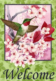 Custom Decor Flag - Floral Hummingbird Decorative Flag at Garden House Flags