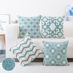 Newport Decor Mint Green Aqua Throw Pillow Cover Geometric Maze Spring Color