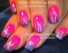 Nail Art! Easy Hot neon pink nails STRIPED in glittery goodness! DIY nai...