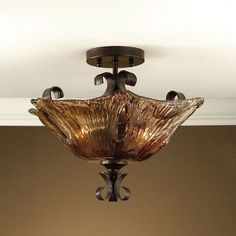 Uttermost 22200 Vetraio 2 Light Semi Flush Mounted Ceiling Light.  Authorized Uttermost Lighting and Home Decor Retailer Since 1996. Free Shipping. Guaranteed Lowest Prices. BellaSoleil.com Tuscan Decor.