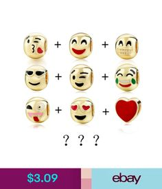 Bracelets Emoji Charm Fun Face Bracelet Bangle 3 5 10 Bead Gold Plated Great Gift Idea #ebay #Fashion
