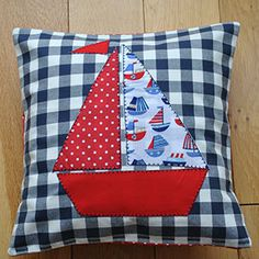 Nautical Shabby Chic Style Applique Boat Cushion Cover Children/Boys/Home via Etsy